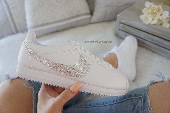 Nike Schuhe mit Swarovski Kristallen Swarovski Swarovski Cortez silbernen aufgemotzt OPTukXiZ