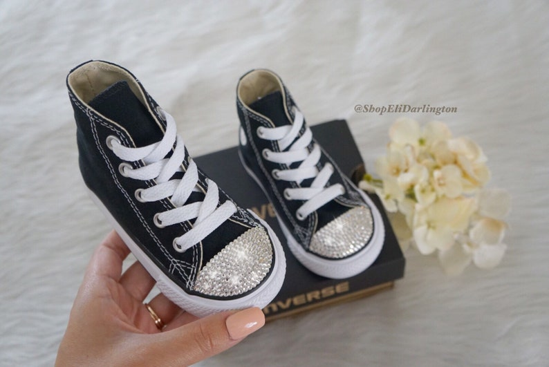 0d318a0df903e FREE SHIPPING Blinged Girl's Converse Chuck Taylor High Top Shoes  Customized with Classic Silver Swarovski, Free Domestic Shipping
