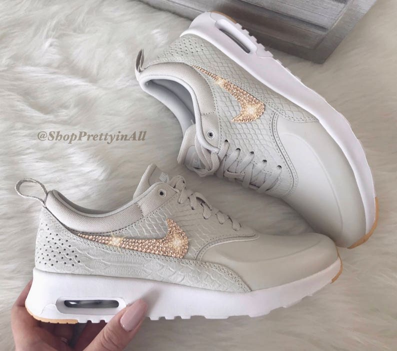 separation shoes 3bd15 2d0cd Bling Nike Air Max Thea Shoes with Rose Gold Swarovski   Etsy
