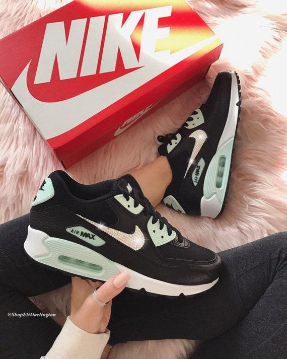 best website 1a466 7a6b8 Bling Nike Air Max 90 chaussures avec des cristaux Swarovski argent clair
