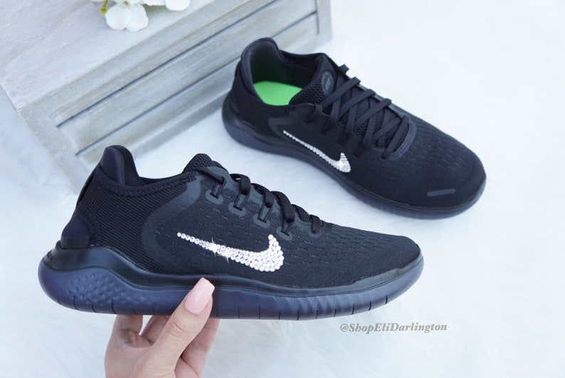 df80fa7f08d24 Bling Nike Free RN Shoes with Silver Swarovski Crystals