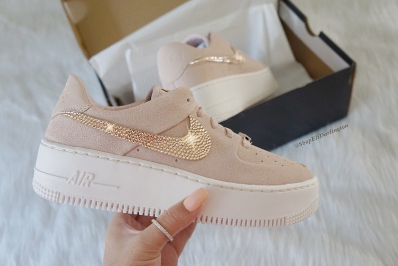 e4658b2eb Custom Swarovski Nike Air Force 1 Sage Low Sneakers with Rose | Etsy