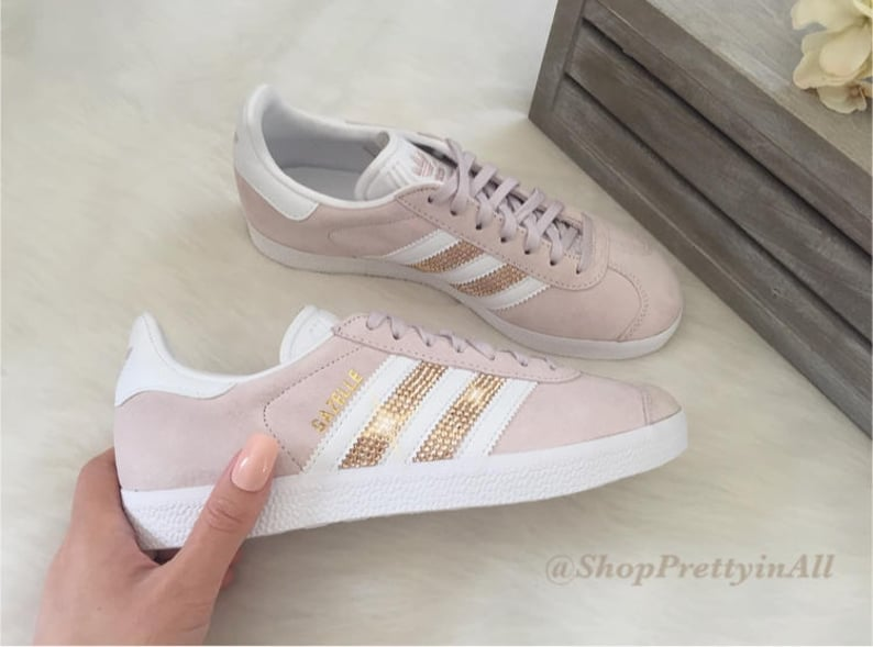 info pour ecd58 cdc46 Custom Adidas Gazelle with Rose Gold Swarovski Crystals on Stripes