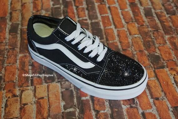 0db0757f3ac Custom Bling Vans Old Skool embellished with Jet Black