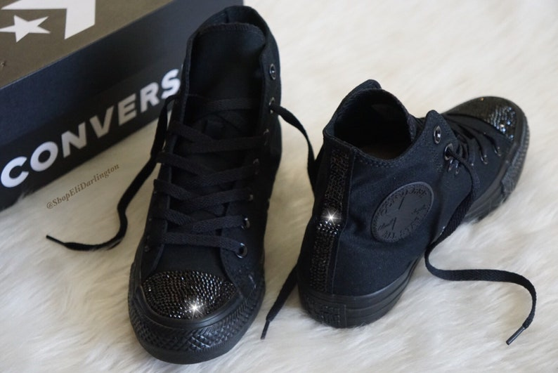 0423b52ed6caa Custom Converse Chuck Taylor High Top Shoes Customized with Jet Black  Swarovski