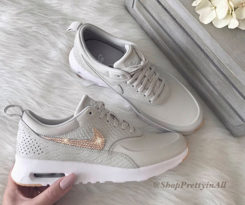 Bling Nike Air Max Thea chaussures avec des cristaux Swarovski Or Rose