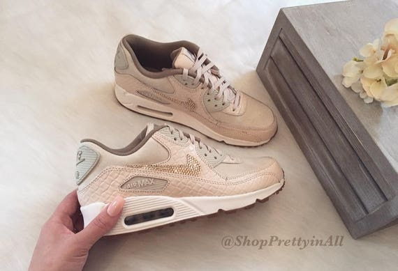 80b99912aa7a26 Bling Nike Air Max 90 Oatmeal Shoes with Rose Gold Swarovski