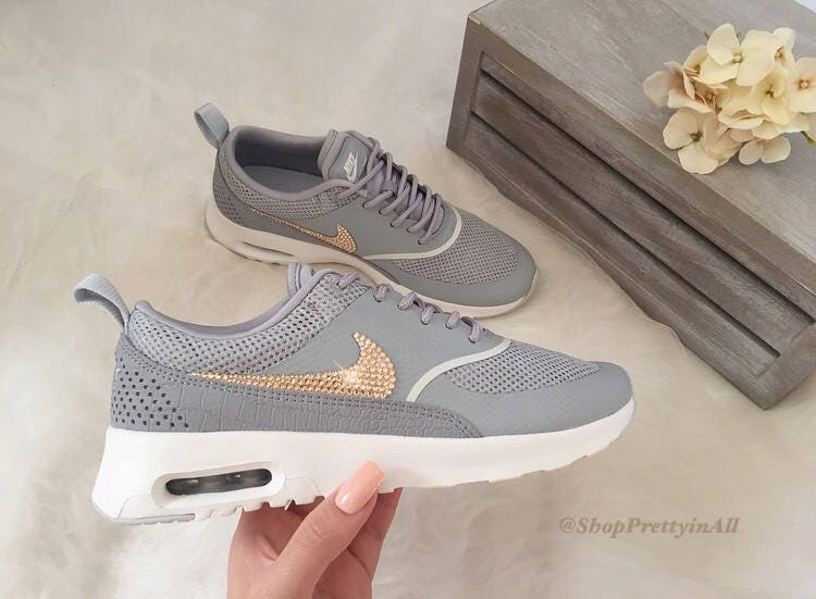 Bling Nike Air Max Thea Shoes with Rose Gold Swarovski Crystals