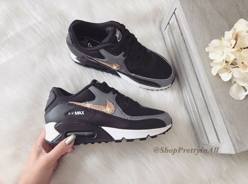 Bling Nike Air Max 90 Shoes in Black Cool Gray with Rose Gold  c0077f283