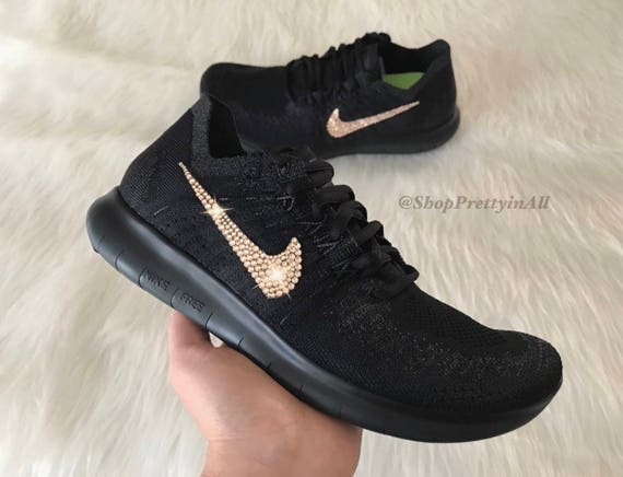 Bling Nike Free RN Flyknit 2017 Shoes with Rose Gold Swarovski  5253201ec107