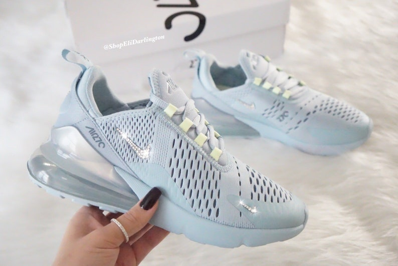 wholesale dealer 868d3 07fc5 Swarovski Bling Nike Air Max 270 Shoes in Clear Silver   Etsy