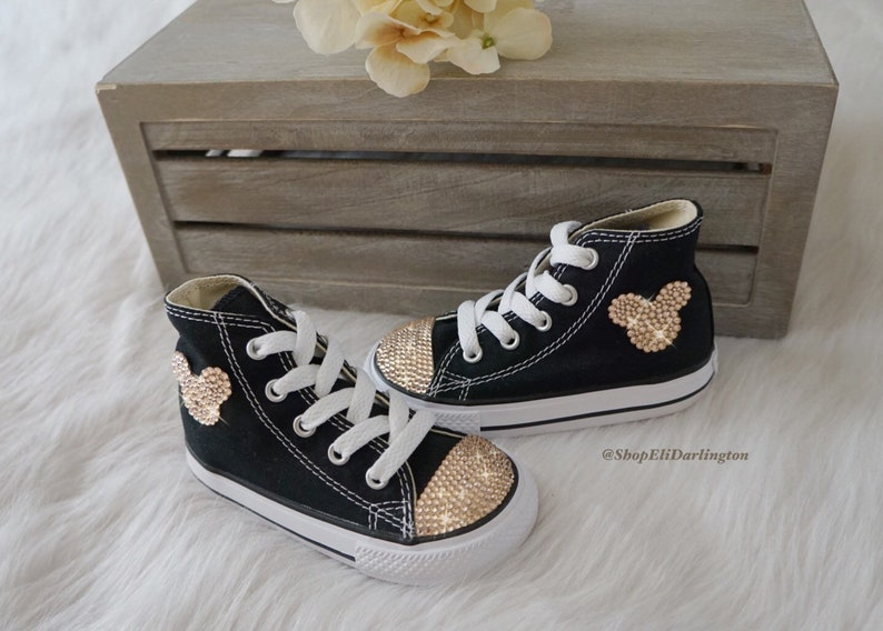 d431ce9d38800 Blinged Disney Mickey Mouse Converse Chuck Taylor High Top Shoes Customized  with Rose Gold Swarovski