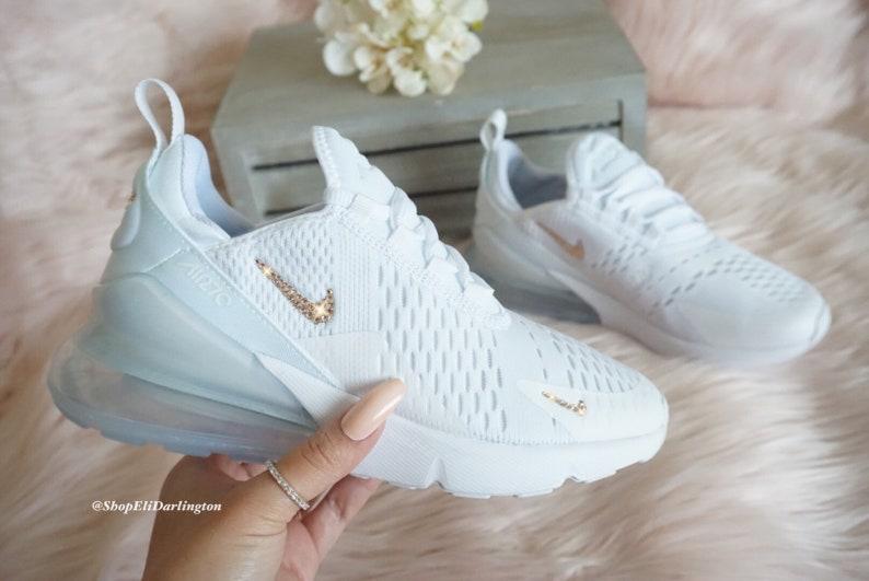415e60fea0aa7 Swarovski Bling Nike Air Max 270 Shoes in Rose Gold Swarovski Crystals