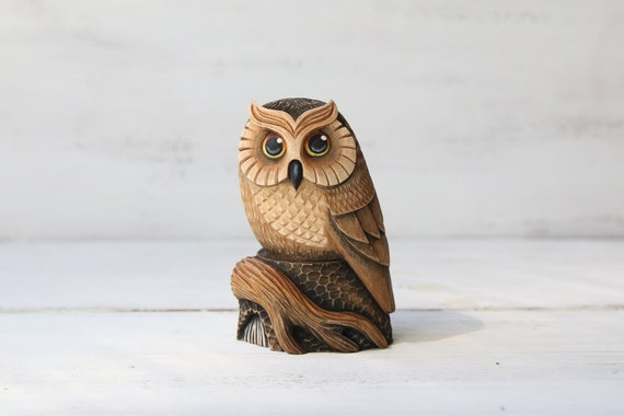 Wood Carving Owl Carved Wood Owl Figurine Owl Carving