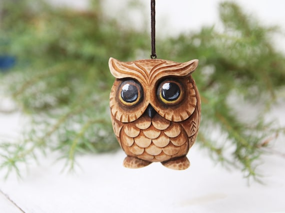 image 0 - Carved Owl Ornament Owl Lover Gift Christmas Ornaments Wood Etsy