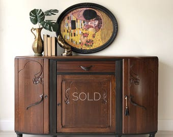 Buffet Sideboard Credenza, Art Deco Buffet, Boho Kitchen Cabinet, Solid  Wood Bar, Entryway Cabinet, Black Bar Cabinet, Bathroom V