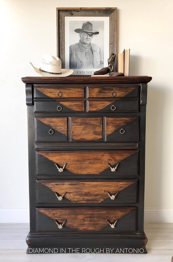 promo code 6b459 f68f2 Industrial black Tall dresser , farmhouse chest of drawers, boys room  furniture, man cave dresser, rustic chest