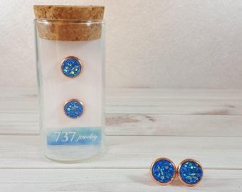 Blue Druzy Earrings, Rose Gold Druzy Stud Earrings, Rose Gold, Blue Druzy Stud Earrings, Blue Earring, Faux Druzy, 8mm Blue