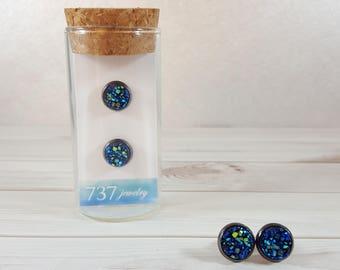 Metallic Blue Druzy Earrings, Metallic Blue Stud Earrings, Druzy Stud Earrings, Metallic Blue Faux Druzy Earrings, 8mm Metallic Blue Druzy