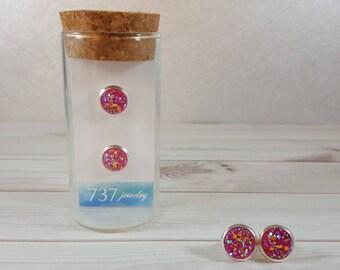 Fuchsia Druzy Earrings, Hot Pink Druzy Stud Earrings, Silver Stud Earrings, Pink Druzy Stud Earrings, Pink Faux Druzy, 8mm Hot Pink Druzy