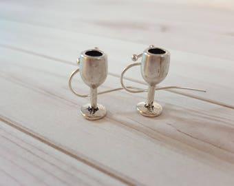 Wine Earrings, Wine Glass Earrings, Wine Goblet Earrings, Wine Gift, Mom Gift, Gift for Her, Champagne Earrings, Mom Gift, Wine Jewelry