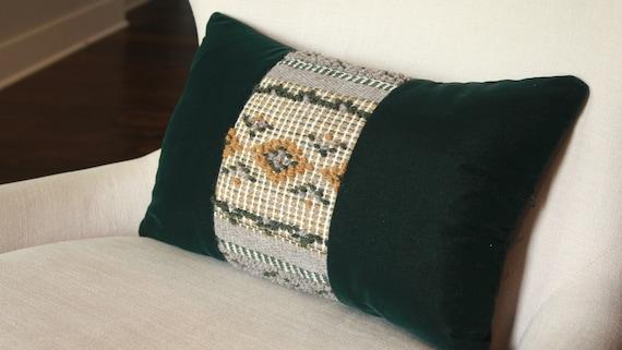 Geometric Handwoven and Velvet Pillow