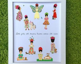Little Dreamer ~ Little Frida Kahlo Art Print