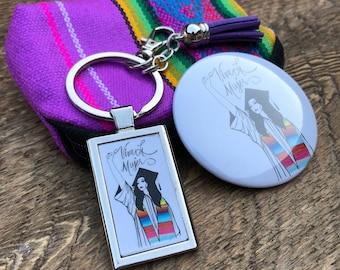 Viva La Mujer Graduation - keychain Gift Set - Violet