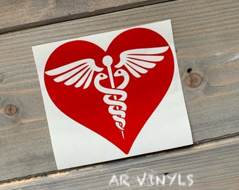Rod of Asclepius Medical Nurse Laptop Tablet Decal // 4.25h x 4.75w #1210 Nursing Caduceus Vinyl Decal RN Symbol Car Window Sticker