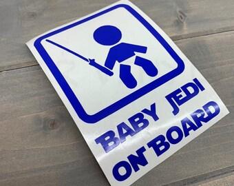 BABY JEDI ON BOARD Voiture Van Fenêtre Decal Autocollant Star Wars Skywalker Sabre Laser