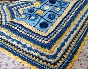 Blanket 100% Cotton hand-knitted (crochet)