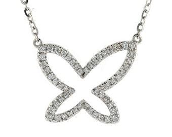 Diamond Butterfly Pendant / Ladies Pendant / 18k White Gold Pedant / Diamond Pendant / White Gold Diamond Pendant