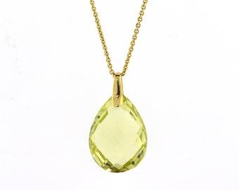 Lemon Quarts Pendant / Quarts Pendant / 14k Gold Pendant / Ladies Pendant / Yellow Gold Pendant