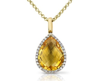 Diamond And Citrine Pendant / Citrine Pendant / Diamond Pendant / 14k Gold Pendant / Ladies Pendant / Yellow Gold Diamond Pendant
