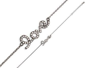 Love Bracelet / Ladies Bracelet / Sterling Silver Bracelet / Black Rhodium Plated Bracelet / Cubic Zirconia Bracelet