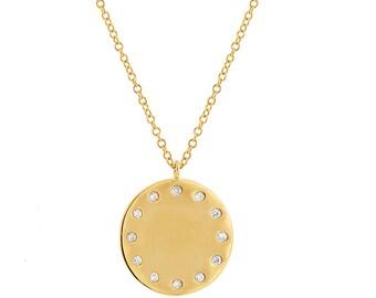 Yellow Gold Pendant / Diamond Pendant / Ladies Pendant / Ladies Diamond Disc Pendant / 14k Yellow Gold Ladies Diamond Pendant