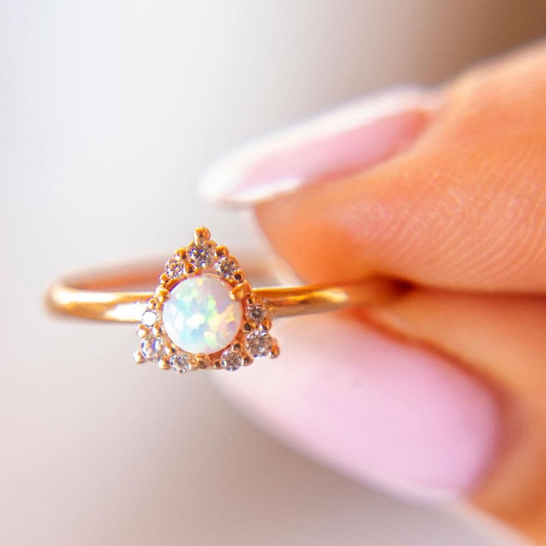 Opal Ring 14K Solid Rose Gold Birthstone Gift Triangular Ring with a Center Opal Gift For Her Opal Stacking Ring Opal Jewelry