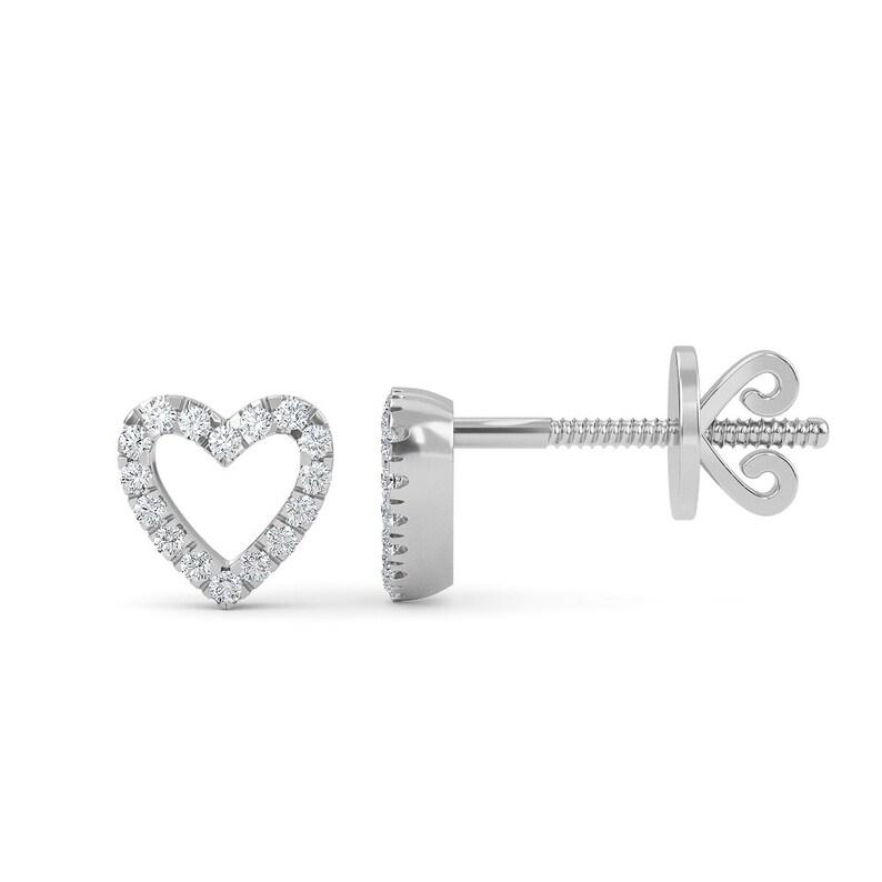 14K Gold Diamond Open Heart Stud Earrings  Dainty Small Heart Studs  Minimal Stud Earring  Gift For Her