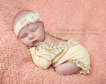 Yellow with Floral Trim Newborn  Girls Romper