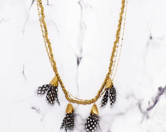 Dangling Feather Necklace - SPOTS