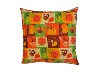 Thanksgiving Pumpkin and Turkey Pillow cover - Home Decor
