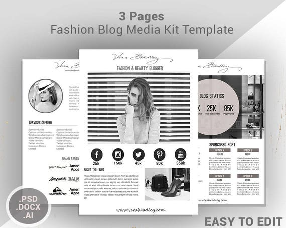 fashion media kit template 3 page blog media press kit etsy