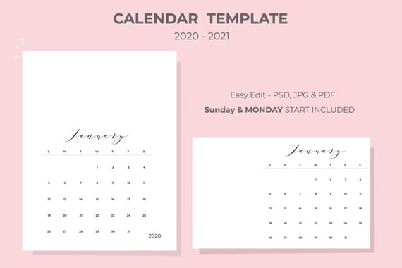 2020 2021 Calendar Template Easy Editable Monthly Calendar | Etsy