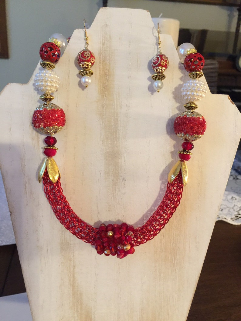 Viking Knit ~ Handmade ~ 18 Necklace ~ Lobster Claw Clasp ~ Matching Earrings ~ Free Shipping ~ Gift Boxed