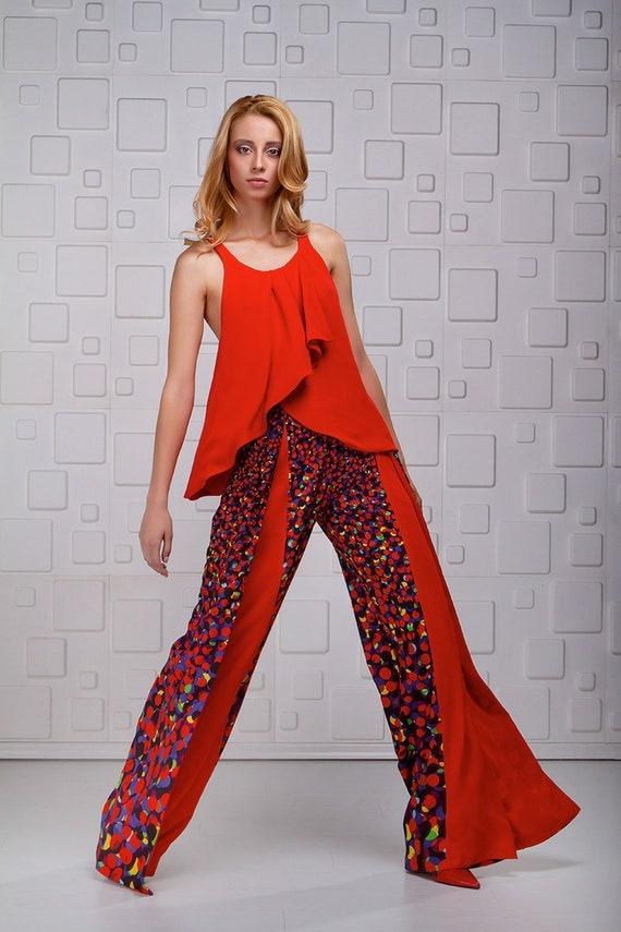 Pantalons à jambes larges / pantalon taille haute / Palazzo pantalon / Pantalon lâche / femme Pantalons haute pantalon taille haute / Avant Garde / imprimé pantalons / pantalons