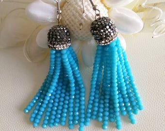 Turquoise tassel earrings, pendant earrings with rhinestones and turquoise crystals. Made in Italy