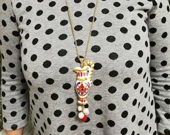 Sicily hand made traditional Sicilian amphorae necklace coral CollanaSiciliana Anfora Siciliana Perle Sicily ceramic necklace Caltagirone