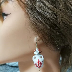 Sicilian earrings Caltagirone ceramic earrings white and silver pearls