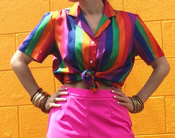 1980s Striped Rainbow Blouse
