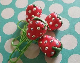 Strawberry with Swarovski Crystals Planner Clip